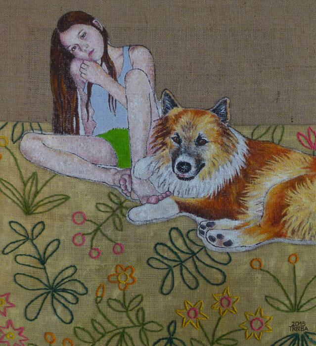 anne trieba - girl with dog