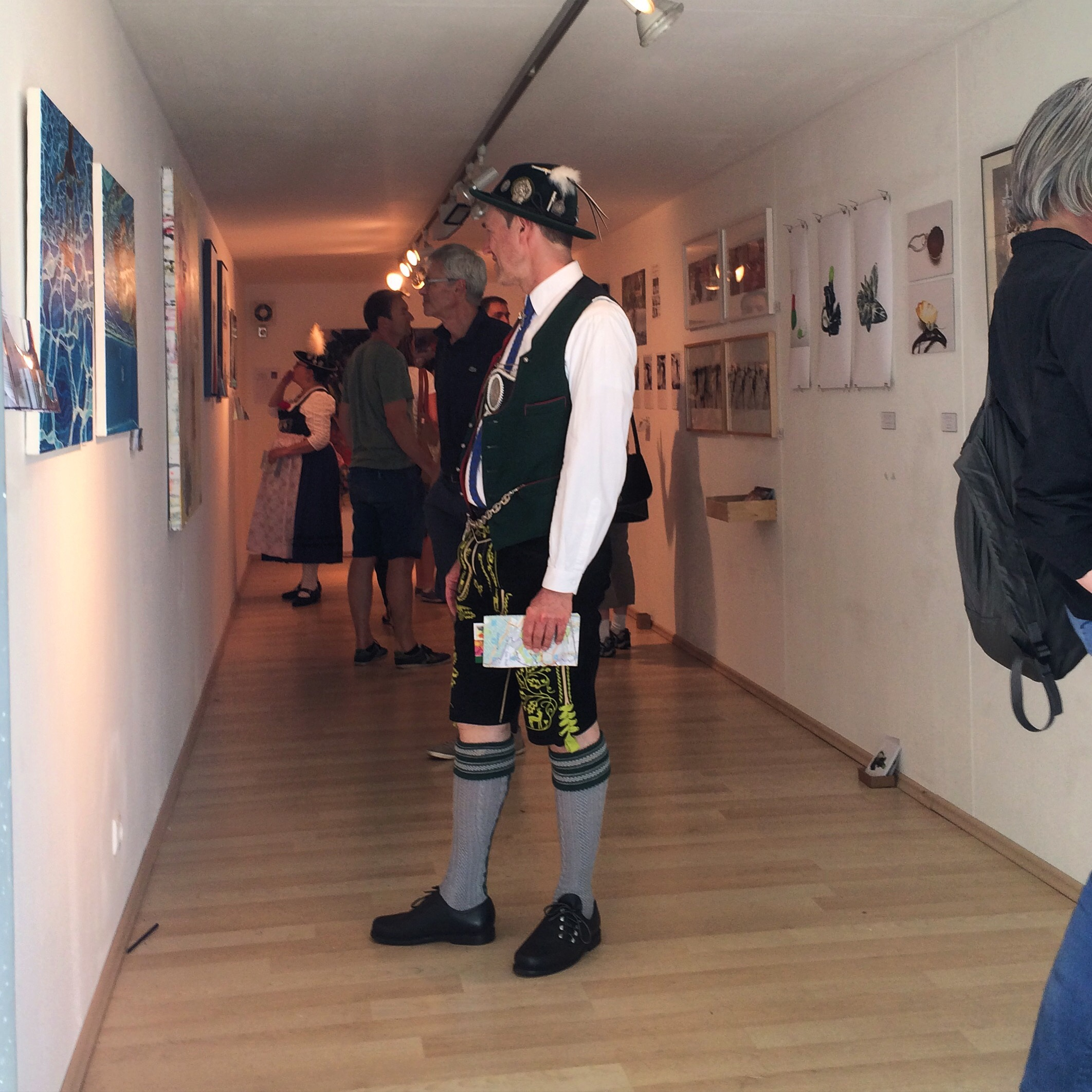 Art in the Park - Munich, Germany - 2015 - Man in Lederhosen - Photograph by Emmy Horstkamp