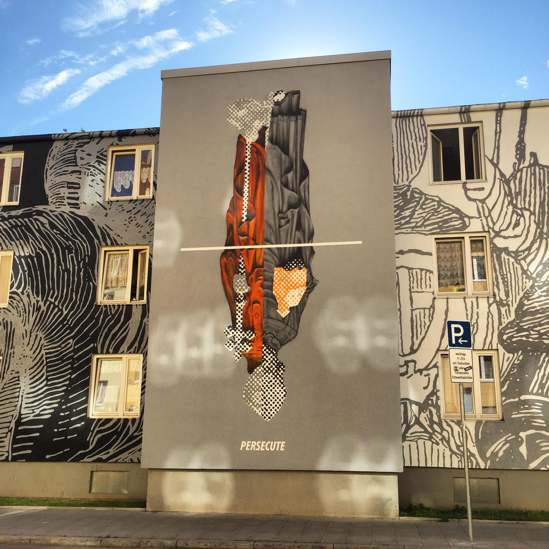 Persecute public artwork in westend, Munich, Germany