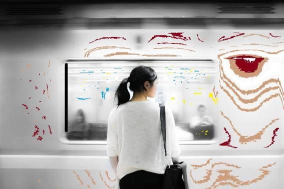 Munich Artists Bernhard Rusch - Day 9 - Girl on Subway