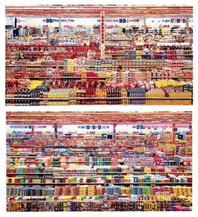 Andreas Gursky, 99 Cent II Diptychon, 2001, C-print mounted to acrylic glass, 2x 207 x 307 centimeter.