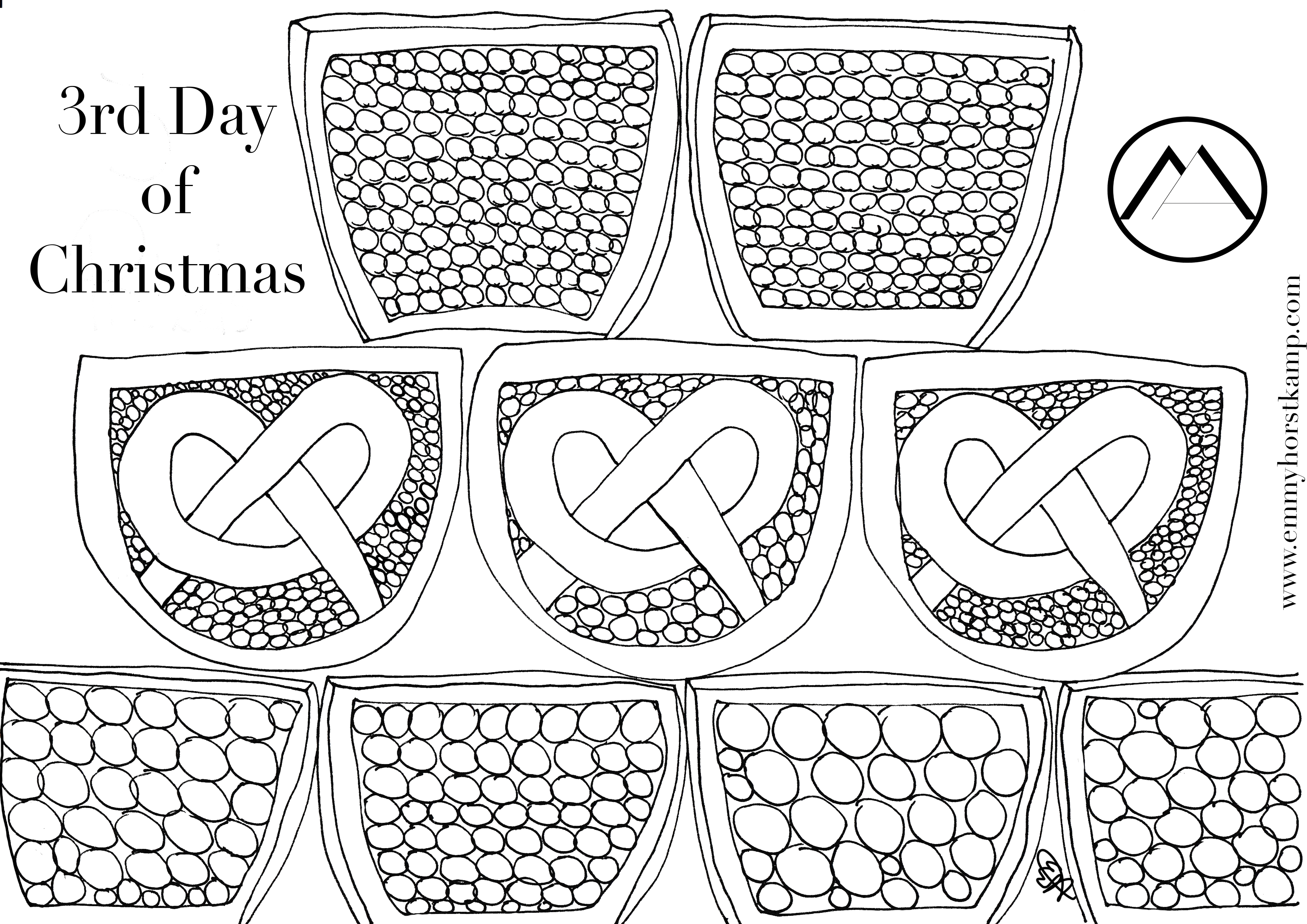 12 Days of Christmas in Munich Colouring Pages | Munich Artists